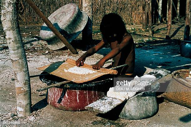 Little girl preparing dough with cassava flour The Amazon rainforest Venezuela