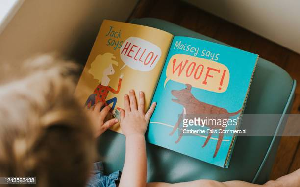 little girl reading a book - publisher stock pictures, royalty-free photos & images