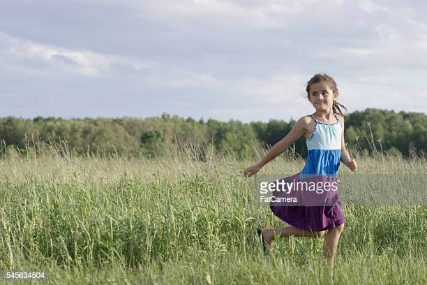 Little Girl Running Outside