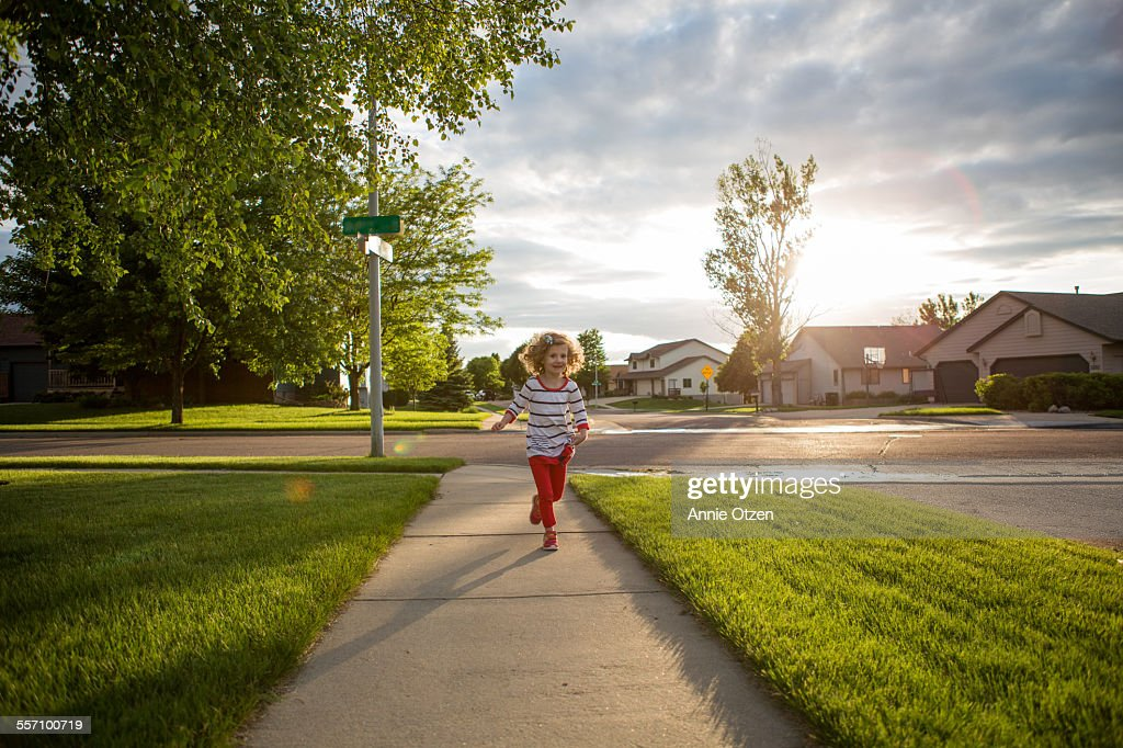 Little Girl Running : Stock Photo