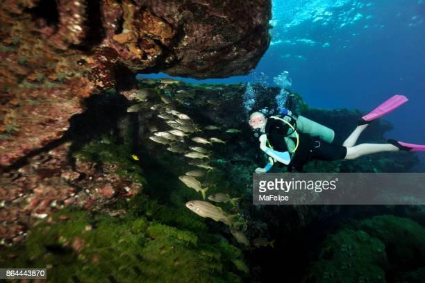 Little girl scuba diving in Fernando de Noronha