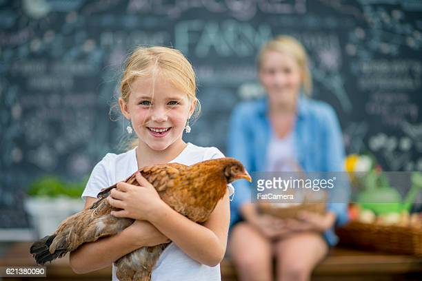 Little Girl Selling Her Chickens Eggs