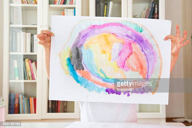little girl showing drawing painted with watercolours - kids art stock pictures, royalty-free photos & images