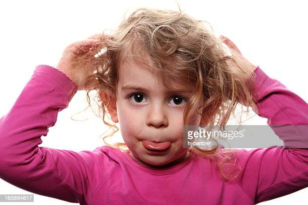 little girl showing emotions: disrespect - kid middle finger stock pictures, royalty-free photos & images