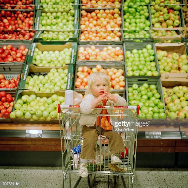 Little girl sitting in a shopping trolley at the grocery store