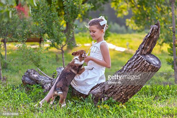 Little girl sitting on log plays with puppy
