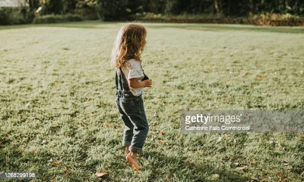 little girl standing on a freshly cut lawn as the sun sets - barefoot stock pictures, royalty-free photos & images