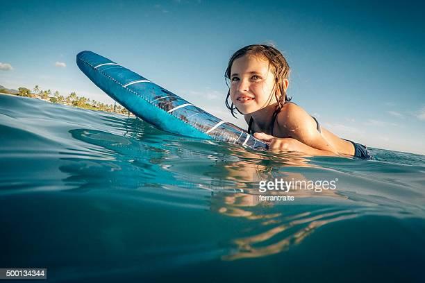 Little Girl Surfing in Hawaii
