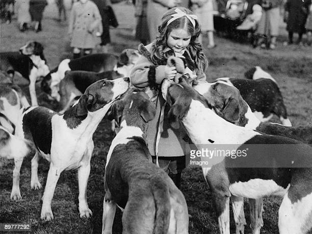A little girl surrounded by hounds Photograph Around 1935