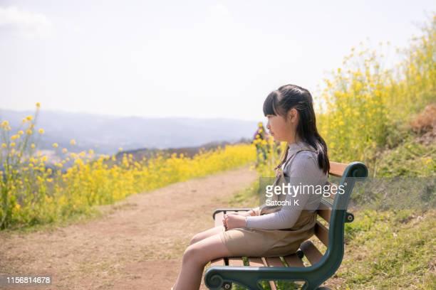 klein meisje het nemen van een pauze in oliehoudende zaden verkrachting veld - kruisbloemenfamilie stockfoto's en -beelden