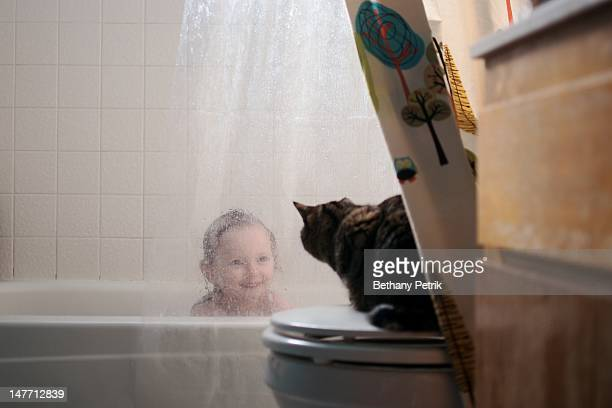 Little girl taking bath