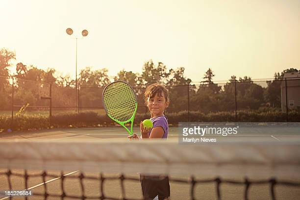 little girl tennis player