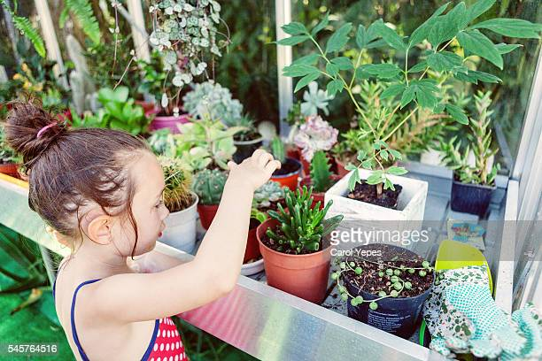Little girl touchin potted plants inside greenhouse