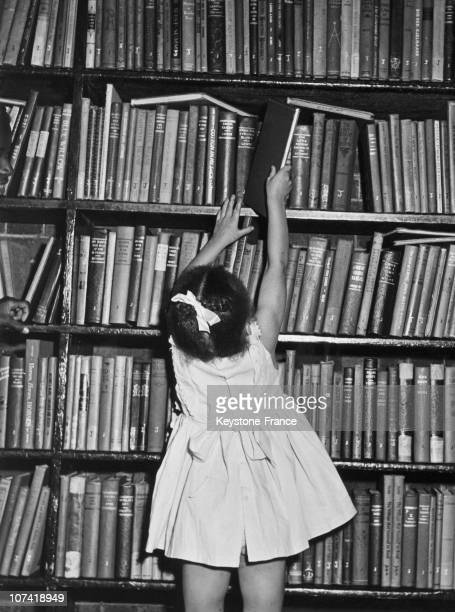 Little Girl Trying To Reach A Book From The Shelf In A Library