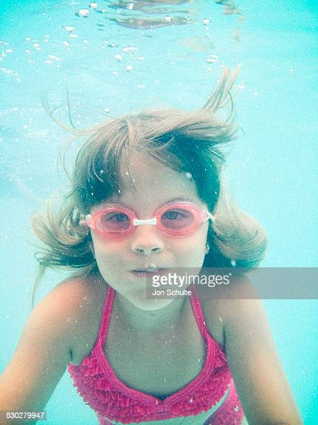 Little Girl Underwater Swimming