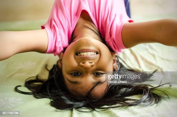 Little Girl Upside Down selfie