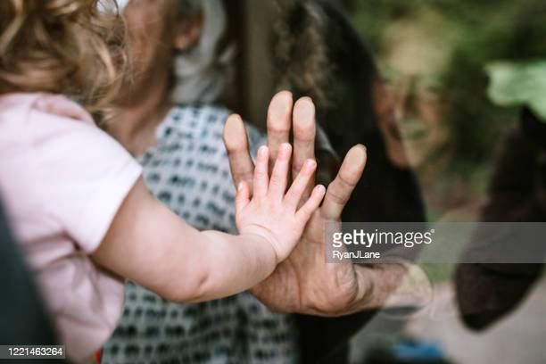 little girl visits grandparents through window - tenere foto e immagini stock