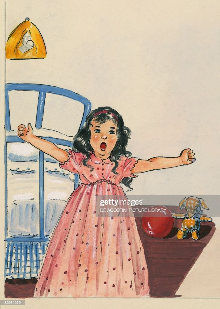 Little girl waking up and getting out of her bed, children's illustration, drawing : News Photo
