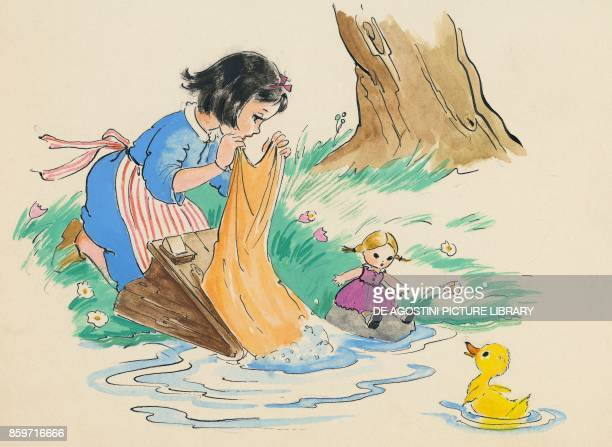 Little girl washing clothes in a creek children's illustration drawing