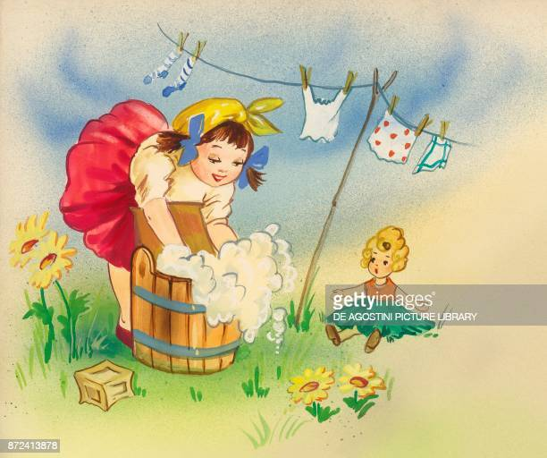 Little girl washing clothes in a tub with her doll close by children's illustration drawing