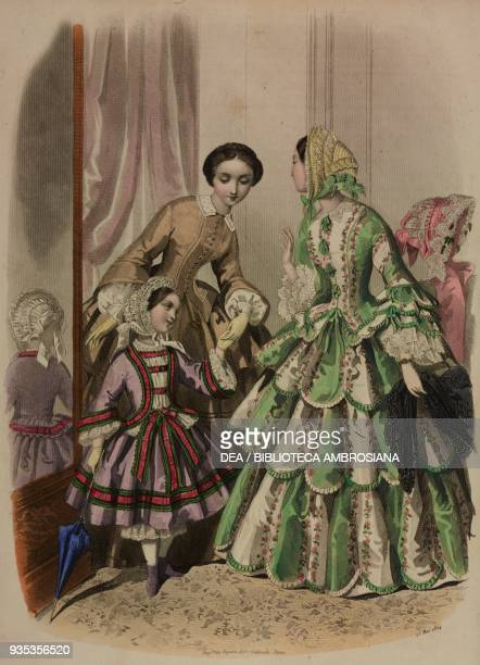 Little girl wearing a dress bonnet and umbrella woman wearing a house dress woman wearing visiting dress and bonnet engraving by JosephLouis...