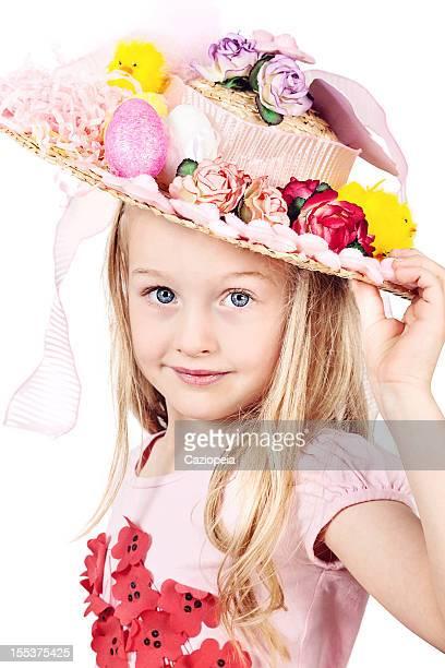 Little Girl Wearing Easter Bonnet