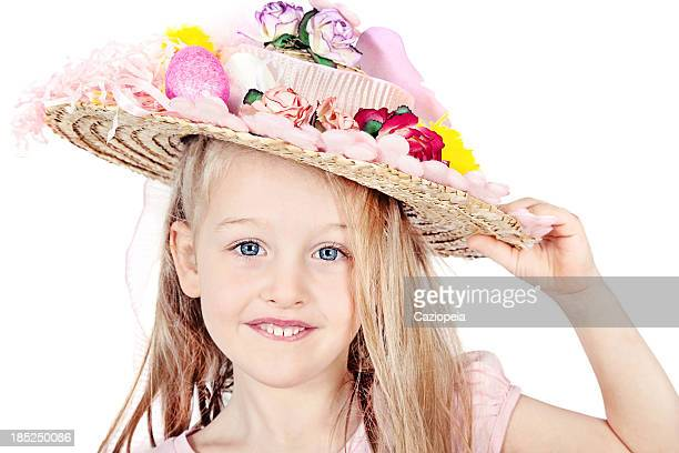 little girl wearing easter bonnet - easter bonnet stock pictures, royalty-free photos & images
