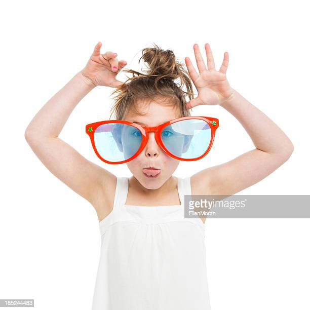 Little Girl Wearing Giant Sunglasses