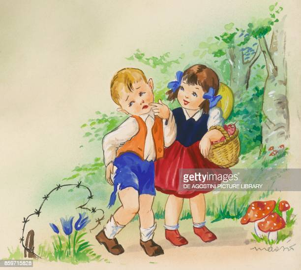 Little girl with a basket of strawberries and boy who tore his pants with barbed wire children's illustration drawing
