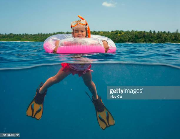 Little girl with a float
