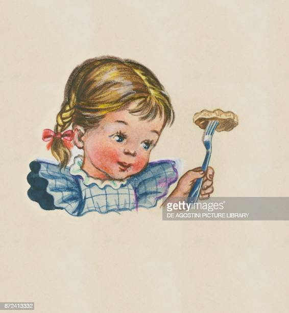 A little girl with a fork in her hand children's illustration drawing