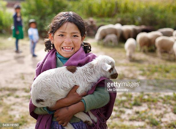 Little Girl with a lamb in the Andes of Bolivia on April 15 2016 in Tarwachapi Bolivia