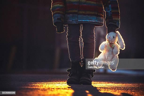 Little girl with a stuffed rabbit