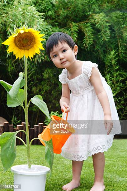 Little girl with a sunflower