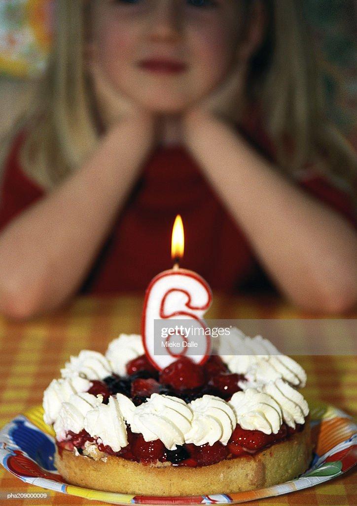 Prime Little Girl With Birthday Cake Portrait High Res Stock Photo Funny Birthday Cards Online Necthendildamsfinfo
