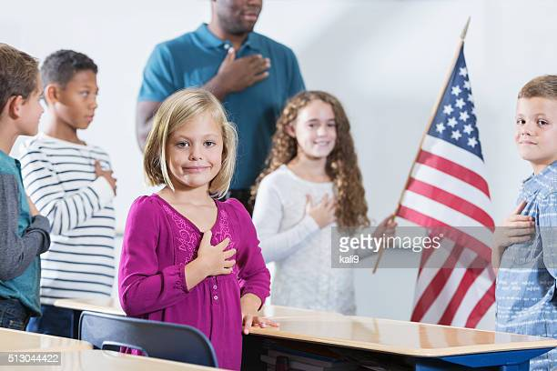 Little girl with class, American pledge of allegiance