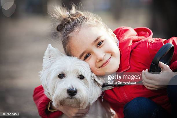 little girl with dog - west highland white terrier stock photos and pictures