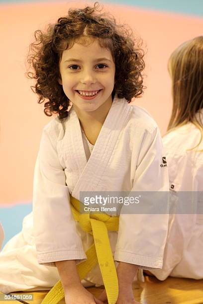 Little girl with kimono judo