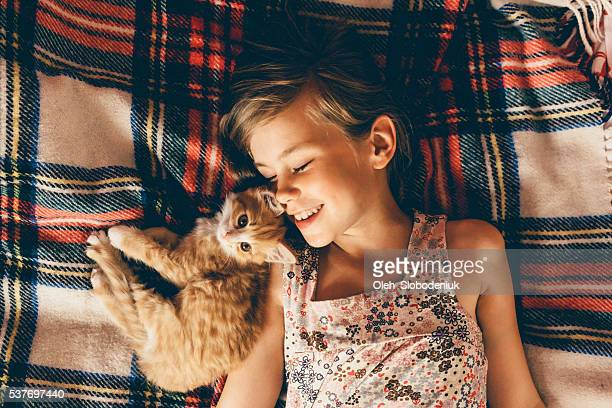 little girl with kittens - pets stock pictures, royalty-free photos & images