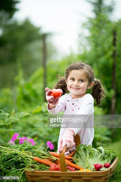 Little Girl with Vegetable Basket