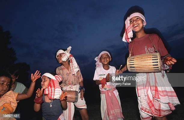Little girls at the Bihu Festival one of the most celebrated in Assam where all classes of people including tea workers mix and mingle for a few days