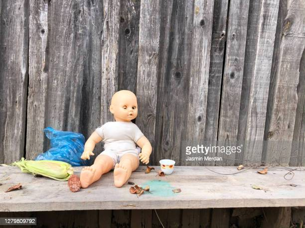 little girl's doll - smurfs: the lost village stock pictures, royalty-free photos & images