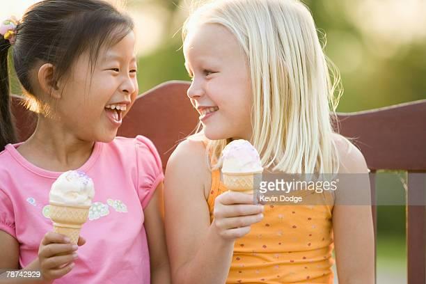 Little Girls Eating Ice Cream