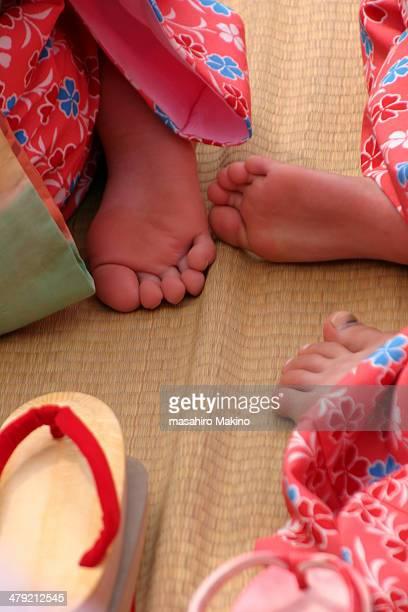 Little Girls' Feet in Kimono