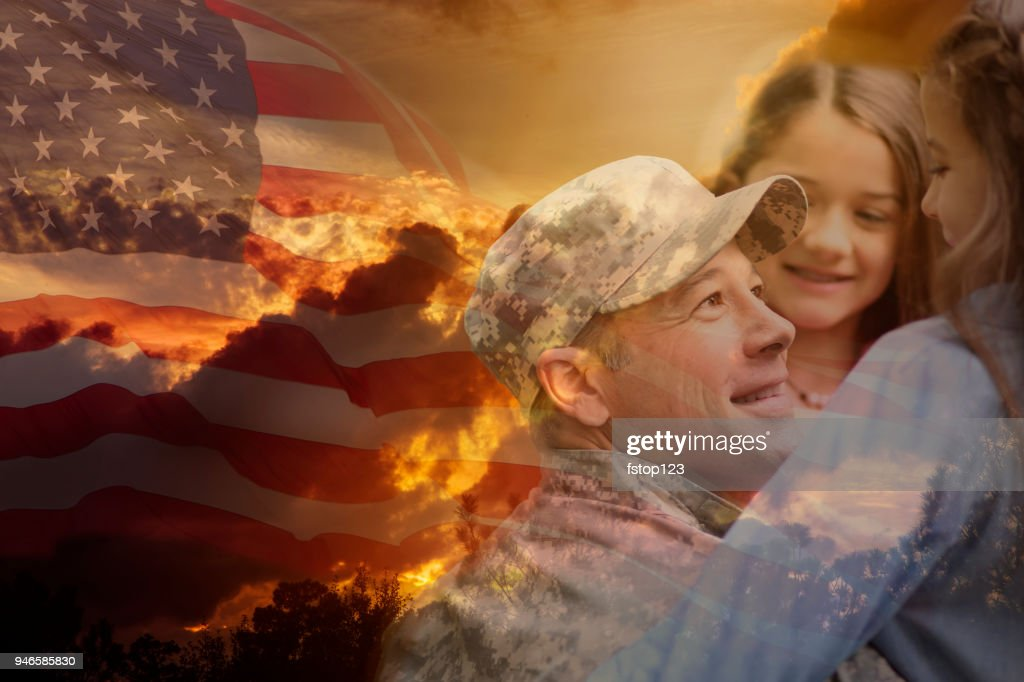 Little Girls Hug Military Father Overlay Sunset American