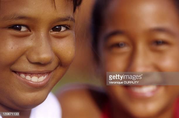 Little girls of Papeete in Tahiti island Society archipelago French Polynesia