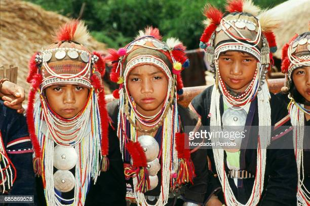 Little girls of the Akha ethnic group in northern Thailand Thailand 1987