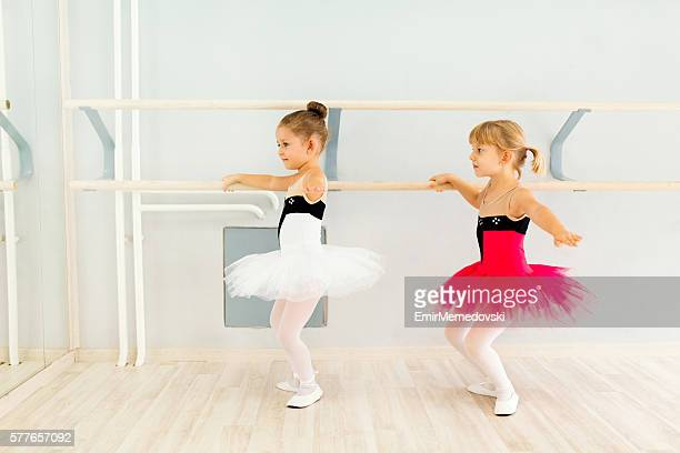 Little girls practicing ballet.