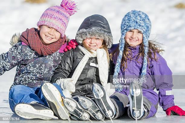 Little Girls Skating Together