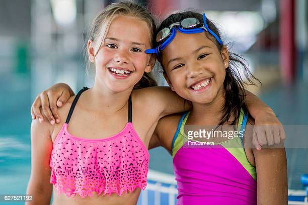 Little Girls Swimming at the Pool